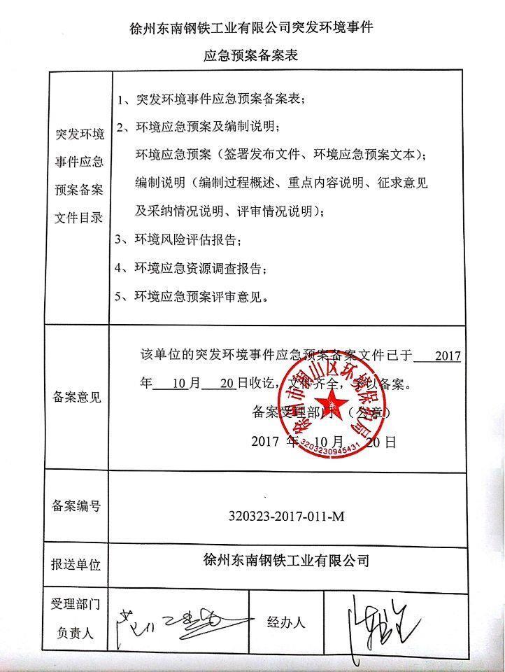 徐州东南钢铁 环保信息公开
